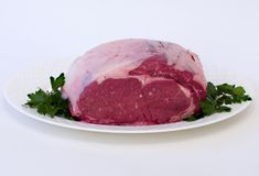 Prime Rib on serving dish Stock Photos