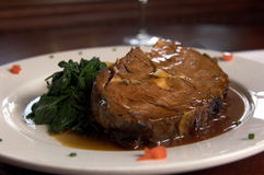 Prime Rib and Spinach Stock Image