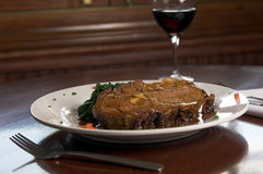 Prime Rib and Spinach Royalty Free Stock Photos