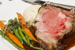 Prime Rib with Vegetables and Potatoes Royalty Free Stock Images