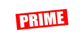 Prime. Stamp with word prime inside,  illustration Royalty Free Stock Image
