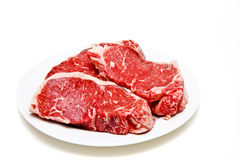 Prime Strip Steaks on Plate Royalty Free Stock Photo
