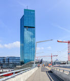 Prime Tower in Zurich, view from the Hardbruecke motorway bridge Stock Image