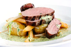 Prime veal. Gourmet dinner of veal isolated on white royalty free stock image