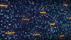 Primecoin attribue un libelle apparaître parmi changer des symboles hexadécimaux sur un écran d'ordinateur rendu 3d Photo stock