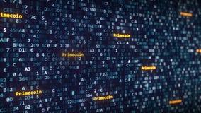 Primecoin subtitula aparecer entre a mudança de símbolos hexadecimais em um tela de computador rendição 3d Foto de Stock