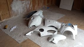 Primed Motorcycle Parts Stock Photo