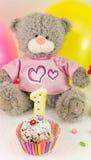 Primeira celebração do aniversário com bolo e balões Imagens de Stock