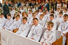 Primeira cerimônia do comunhão santamente no Polônia 2017 de Poznan foto de stock royalty free