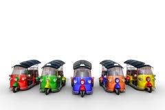 primeira fila da rendição 3d de Tuk bonito multicolorido Tuk, tra tailandês Imagem de Stock Royalty Free