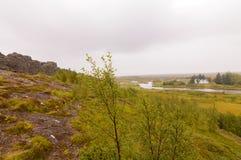 Primeira Islândia Parlimnet paisagem de Allthing foto de stock
