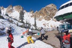 Primeira jornada em Snowbasin Fotos de Stock Royalty Free