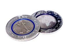 Primeira moeda do Euro do alemão cinco Fotografia de Stock Royalty Free
