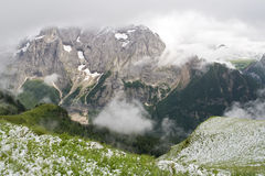 Primeira neve de Dolomiti Fotos de Stock Royalty Free