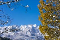 Primeira queda de neve do outono no parque natural de Aizkorri - Aratz, a municipalidade de Zegama Foto de Stock