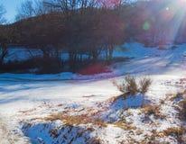 Primeira queda de neve em Fontecerro Rieti Itália Fotos de Stock Royalty Free