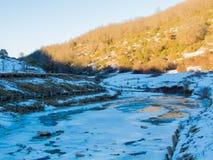 Primeira queda de neve em Fontecerro Rieti Itália Foto de Stock Royalty Free