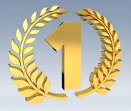 Primeira rendição dourada do ícone 3D do preço Foto de Stock