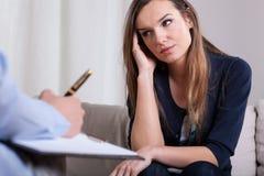 Primeira reunião com psychotherapist foto de stock