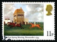 A primeira reunião de mola no selo postal de Newmarket Reino Unido Foto de Stock Royalty Free