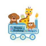 Primeiro aniversário feliz com o cartão bonito do bebê dos cães Imagens de Stock Royalty Free