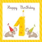 Primeiro cartão de aniversário feliz ilustração stock