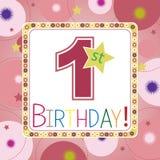 Primeiro cartão de aniversário Imagens de Stock