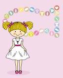 Primeiro comunhão da menina ilustração royalty free