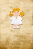 Primeiro comunhão do cartão vertical, gir louro engraçado Fotografia de Stock Royalty Free