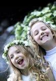 Primeiro comunhão - meninas felizes Fotos de Stock Royalty Free
