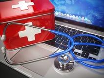 Primeiro conceito da ajuda médica ou do suporte laboral Portátil com abetos ilustração do vetor