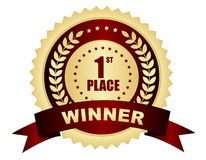 Primeiro crachá do vencedor do lugar Fotografia de Stock Royalty Free