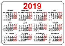 primeiro dia segunda-feira do calendário compacto do bolso da grade 2019 ilustração stock