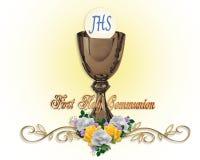 Primeiro fundo santamente do convite do comunhão ilustração do vetor