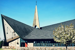 Primeiro Lutheran evangélico Chuch - lago Genebra, WI fotos de stock royalty free