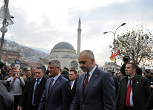 Primeiro ministro albanês Edi Rama e ministro Hashim Thaci de Kosovo primeiro em Prizren imagens de stock royalty free