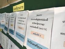 Primeiro ministro documentos do candidato na exibição verde da placa aos povos tailandeses para eleger sobre o governo novo após  fotos de stock royalty free