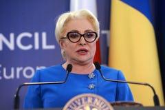 Primeiro ministro romeno Viorica Dancila imagens de stock