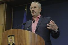 Primeiro ministro vice romeno conferência de imprensa de Vasile Dincu Fotografia de Stock