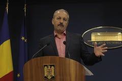 Primeiro ministro vice romeno conferência de imprensa de Vasile Dincu Imagem de Stock Royalty Free