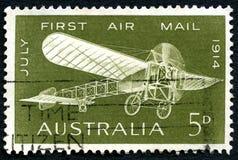 Primeiro selo postal do australiano da comemoração do correio aéreo Imagem de Stock