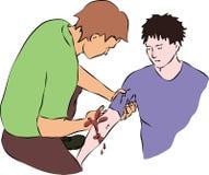 Primeiros socorros - circulação sanguínea próxima da ferida Imagem de Stock