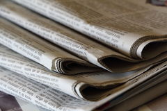 PRIMELIN, FRANCE - SEPTEMBER 24: Pile of newspapers, September 24, 2016 Stock Photo