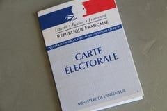 PRIMELIN FRANCJA, KWIECIEŃ, - 05Â: Francuska elektoralna karta, Kwiecień 05, 2017 Zdjęcia Royalty Free