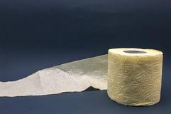 Primer amarillo gris del wc del rollo del papel higiénico fotografía de archivo
