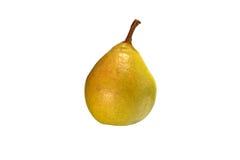 Primer amarillo hermoso de la pera en un fondo blanco Imagenes de archivo