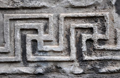 Primer bizantino de piedra tallado del adorno Imagen de archivo libre de regalías