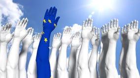 Primer brazo del concepto de Europa pintado como bandera europea fotografía de archivo