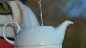 Primer, cámara lenta Jet Of Boiling Water Pouring en una tetera blanca de la porcelana almacen de metraje de vídeo