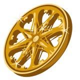 Primer chispeante de la rueda del oro en el fondo blanco libre illustration